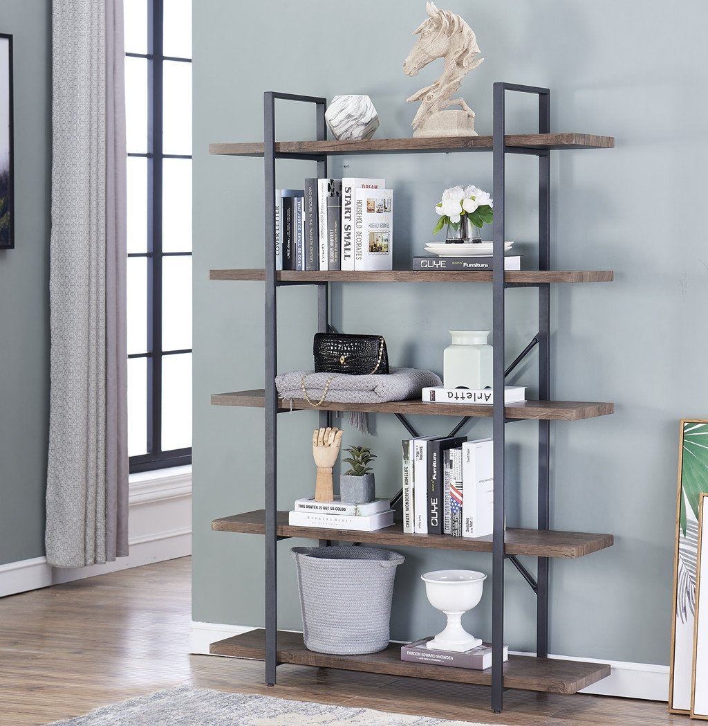 O K Furniture 5 Tier Industrial Style Bookshelf Wood And Metal Bookcases Furniture 70 H Gray Brown