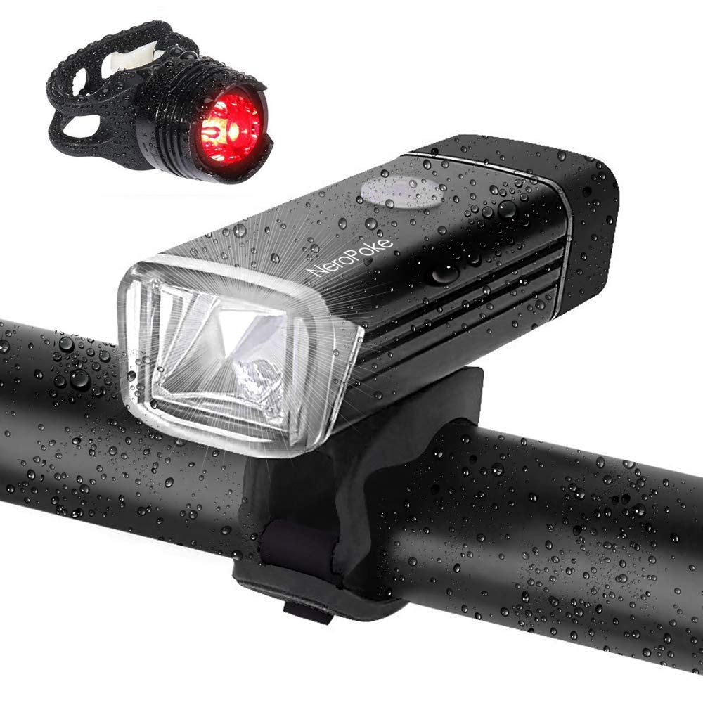 Rechargeable Led Bike Light Bike Rear Tallight Set, Carry-on USB Charging, IPX6 Waterproof Cycle Light Fit All Bike Style (Black)