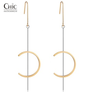 Factory Unique Design Letter C 14k Gold Stainless Steel Jewelry For Women Dangle Earrings
