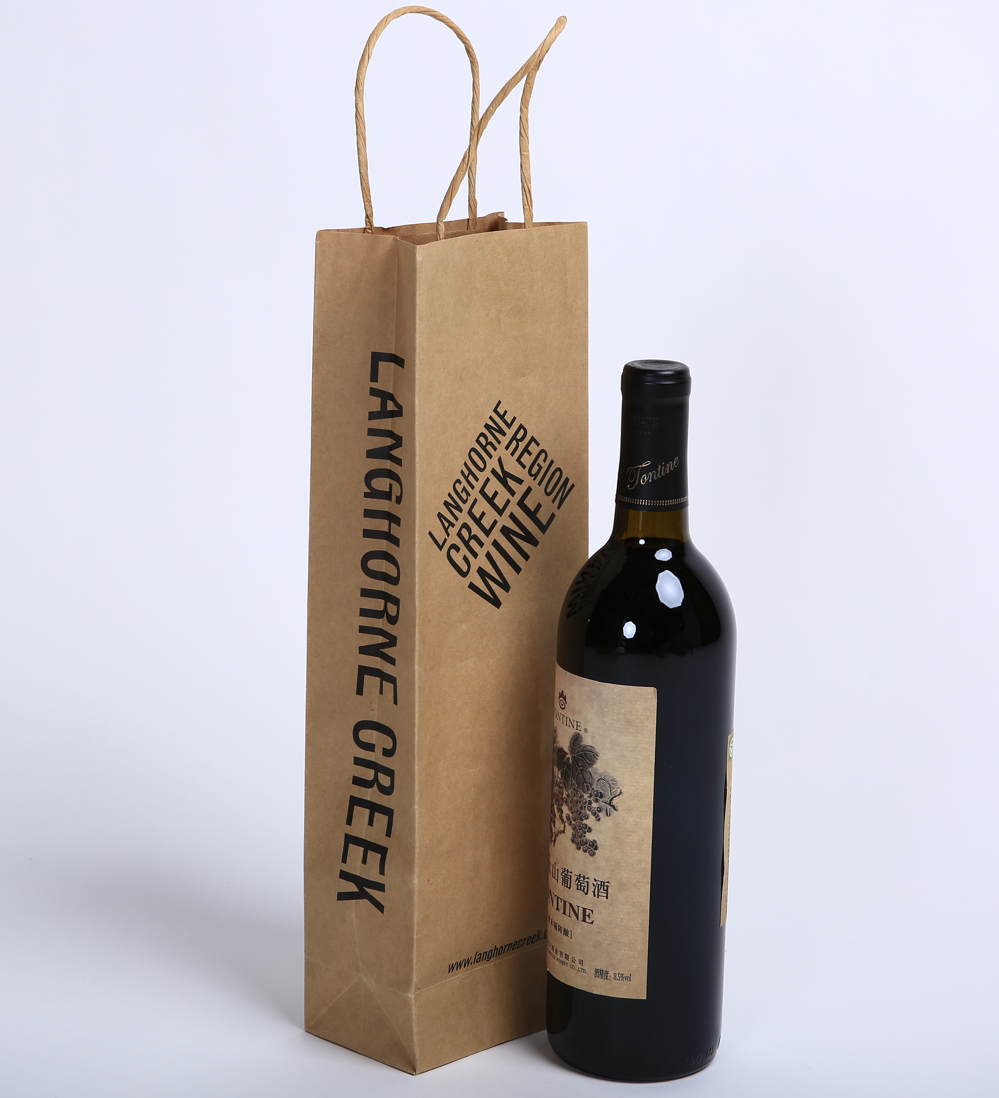 10% OFF! Kraft Paper Handle Bag Win bottle Bag Customize your own Logo twisted handle