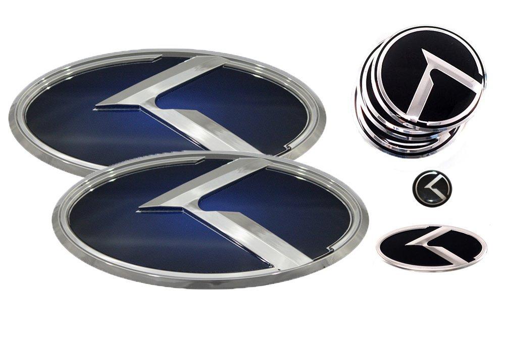 Buy 3d K Logo Emblem Blue Chrome Edition Set 8pc Front Rear