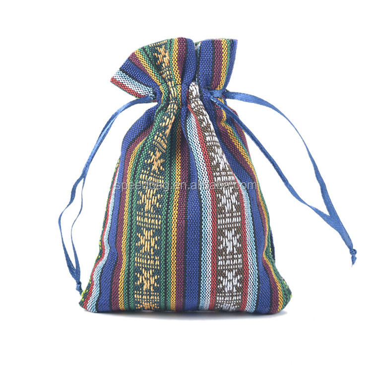 Wholesale colorful jute drawstring pouch small cotton jewelry drawstring bag jute cotton bag