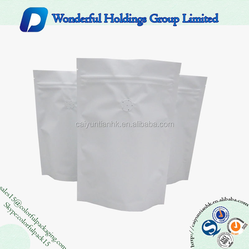 white matte resealable stand up pouch foil coffee bag with valve and zip