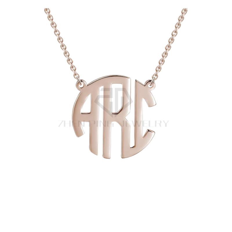 6ecca1316 Initial Circle Two or Three Letter Pendant Rose Gold Block Style Monogram  Necklace Birthstone Custom Personalized Monogram