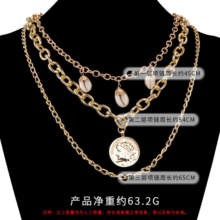 2019 New Shell Necklace Lady Multilayer Gold Plating Coin Pendant American Fashion Necklace