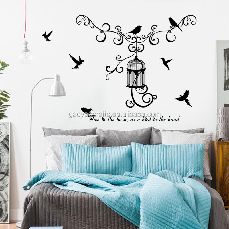 Cage silhouette chambre PVC décoration amovible stickers muraux ...