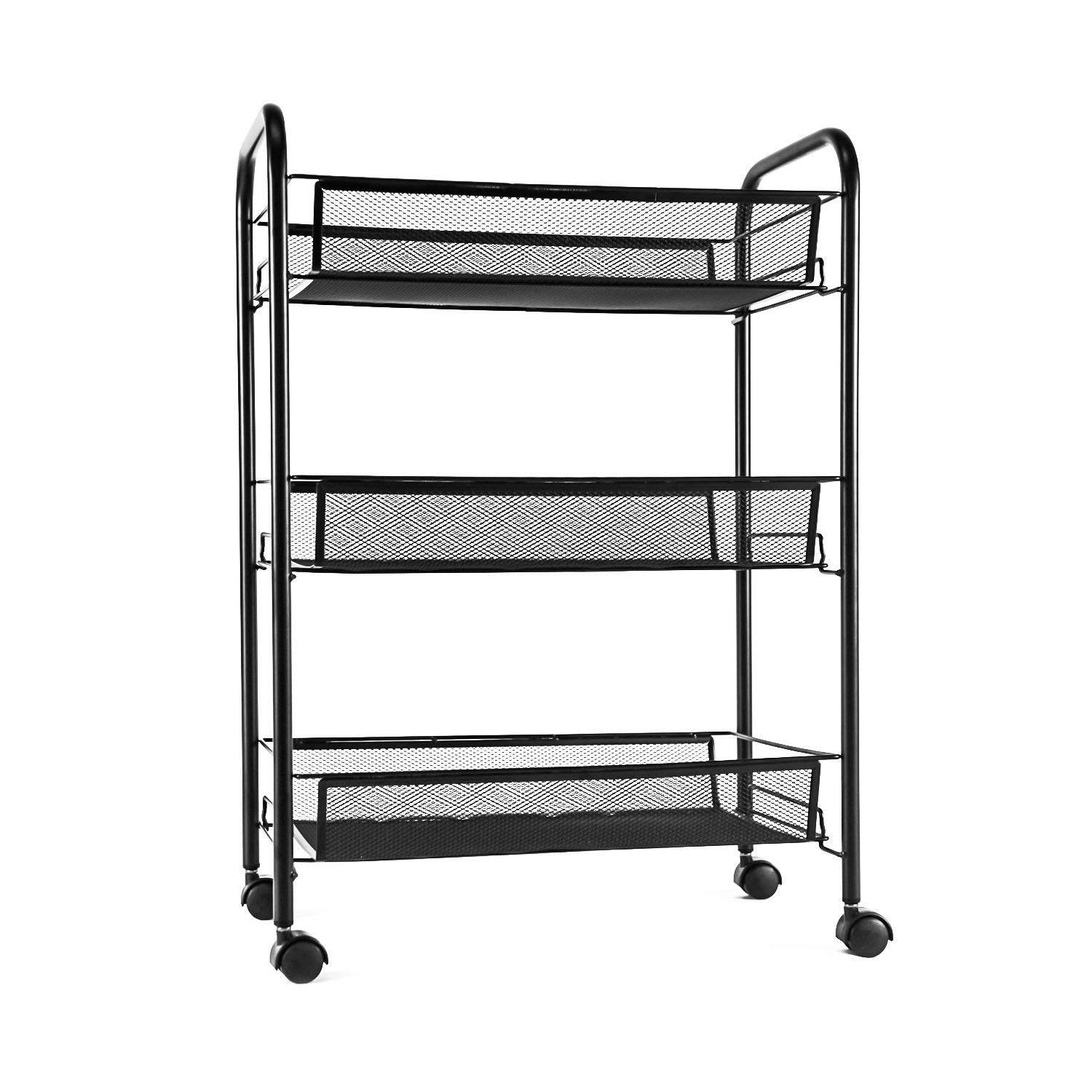 "Globe House Products GHP 17.32""x10.24""x24.41"" 3-Tier Black Iron Rolling Kitchen Bathroom Mesh Storage Cart"