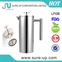 double wall stainless steel french press coffee maker (0.35L,0.8L,1.0L)