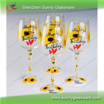 Happy Birthday Gift Hand Painted Wine Glass
