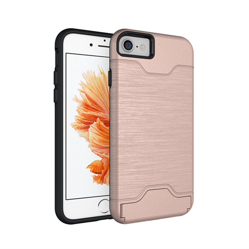 HAISSKY Anti-shock Phone Case With Card Pouch Soft TPU+Hard PC Combo Stand Hybrid Phone Case For iPhone 7 Plus 8 Plus