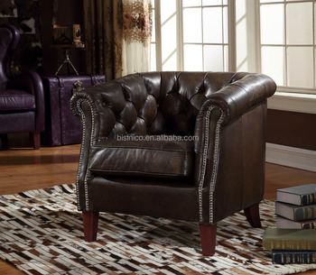 Traditional American Replica Chesterfield Genuine Leather Sofa With Cushion