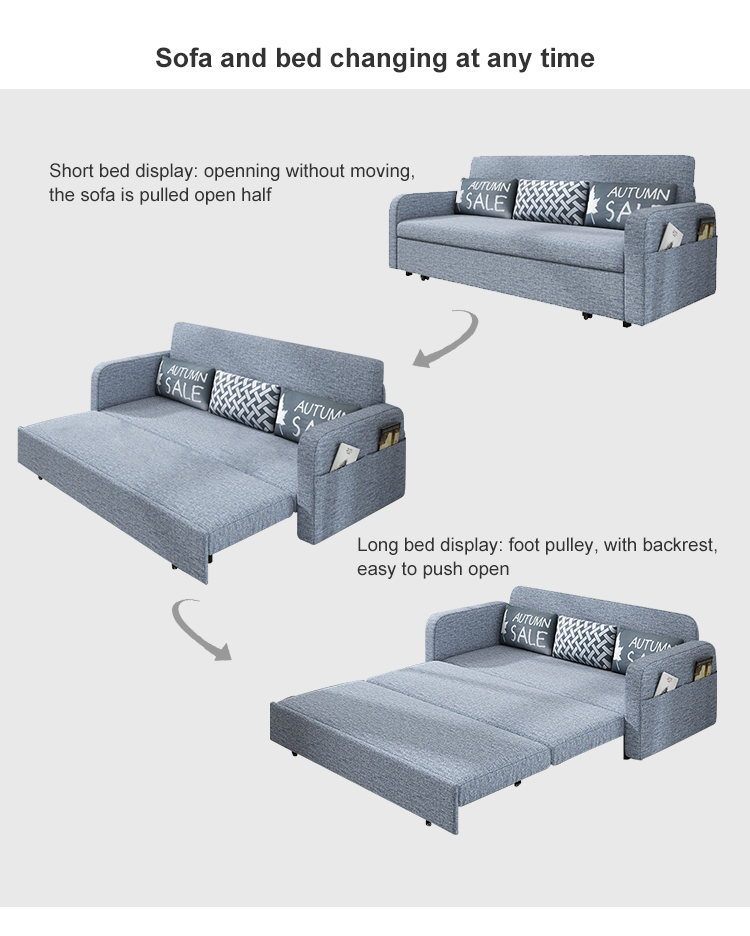 Best Seller Cheap 3 Seater Scandinavian Style Sleeper Cover Sofa Cum Bed With Comfortable Backrest
