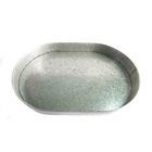 Metal galvanized iron oval serving tray