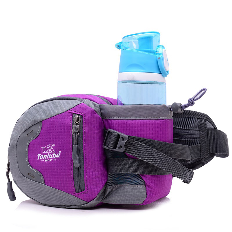 Custom Fashion Unisex Outdoor Waterproof Nylon Waist Fanny Pack, Sports Travel Waist Bag With Water Bottle Holder
