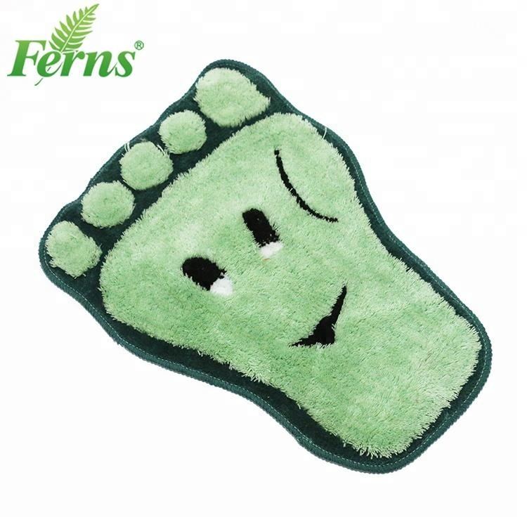 Wholesale soft fabric Foot shaped children bathroom mat non-slip floor mat