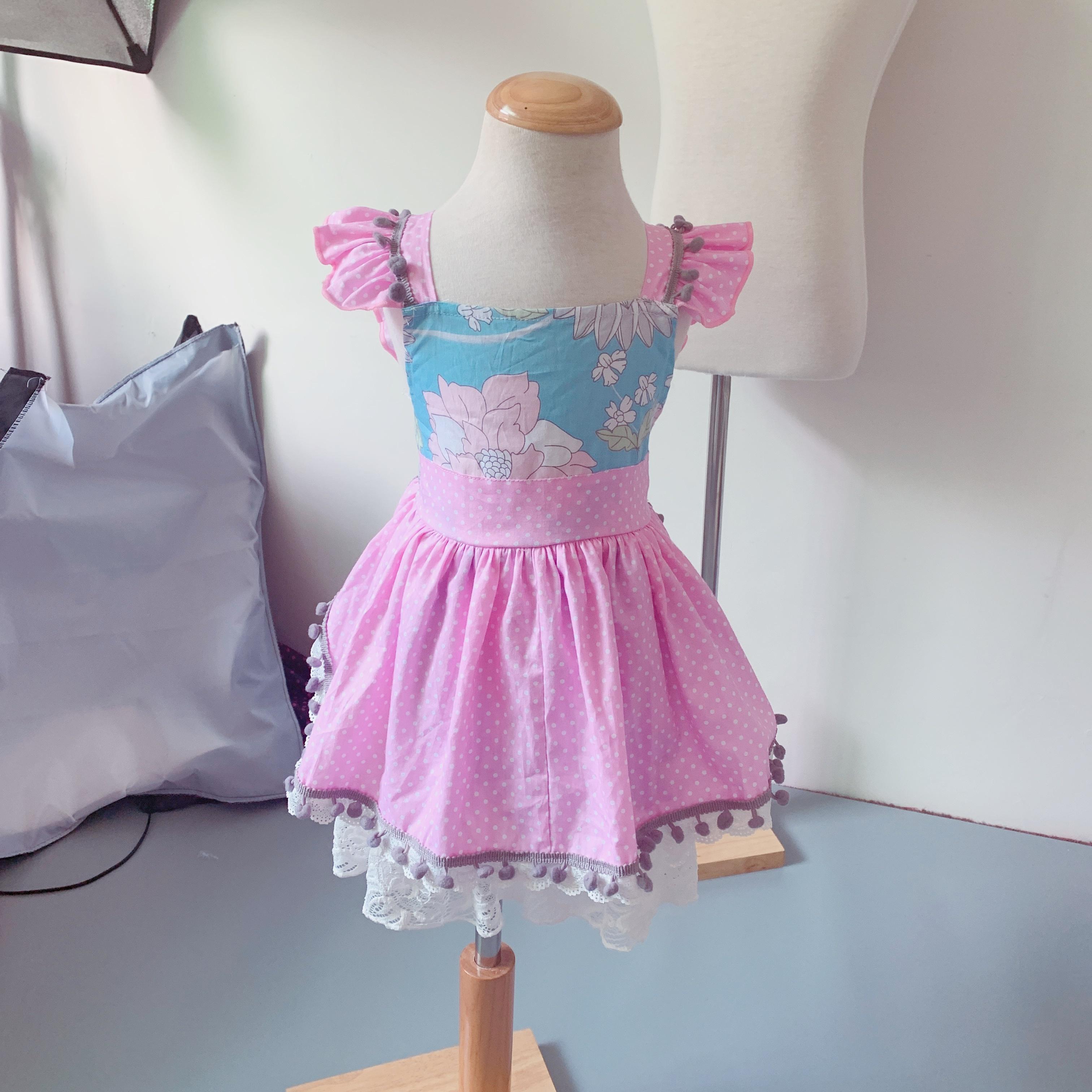 0b2d44f32d3 2019 el más nuevo chico chica patrón floral azul vestido de niña fucsia  puntos falda de