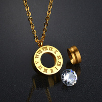 Roman Numerals Interchangeable Jewelry Crystal 18K Gold Color Stainless Steel Necklace
