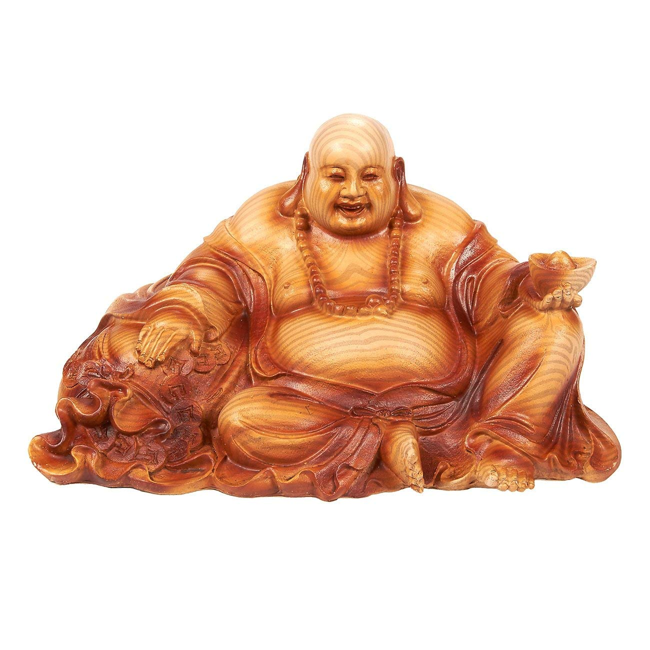 Juvale Happy Buddha Figurine - Laughing Buddha DecorSmall Buddha Figure Lucky Buddha Figurine Interior Decoration, Good Luck Charm, Brown - 8.7 x 5 x 5 Inches