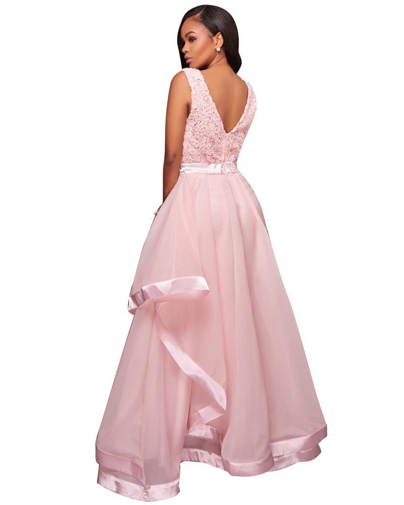 En stock rosa con volantes dama color pastel gasa vestido largo Maxi ...