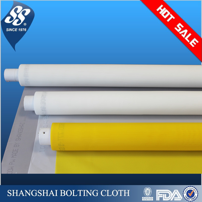 shangshai monofilament polyester screen printing mesh screen white and yellow color available(7t-165t)