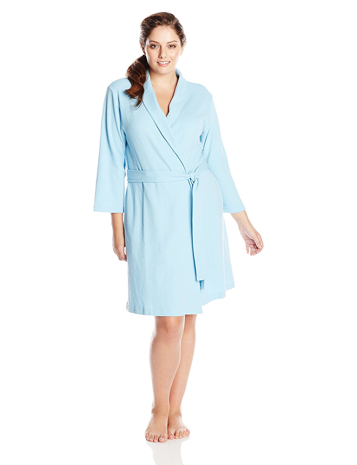 ae11935059 Get Quotations · Casual Moments Women s Plus-Size Waffle Knit Robe In Plus