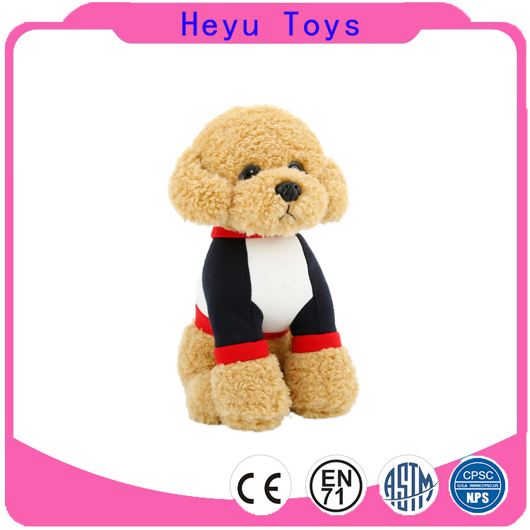 Dongguan factory cute funny teddy dog stuffed toy with clothes