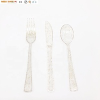 Gold Glitter Cutlery Disposable Plastic Silverware Set
