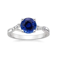 bridal jewelry natural royal blue sapphire solitaire ring unique design 18k white gold for wedding