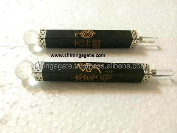 Black Jasper Reiki Engraved Healing Stick : Wholesale Gemstone Healing Sticks