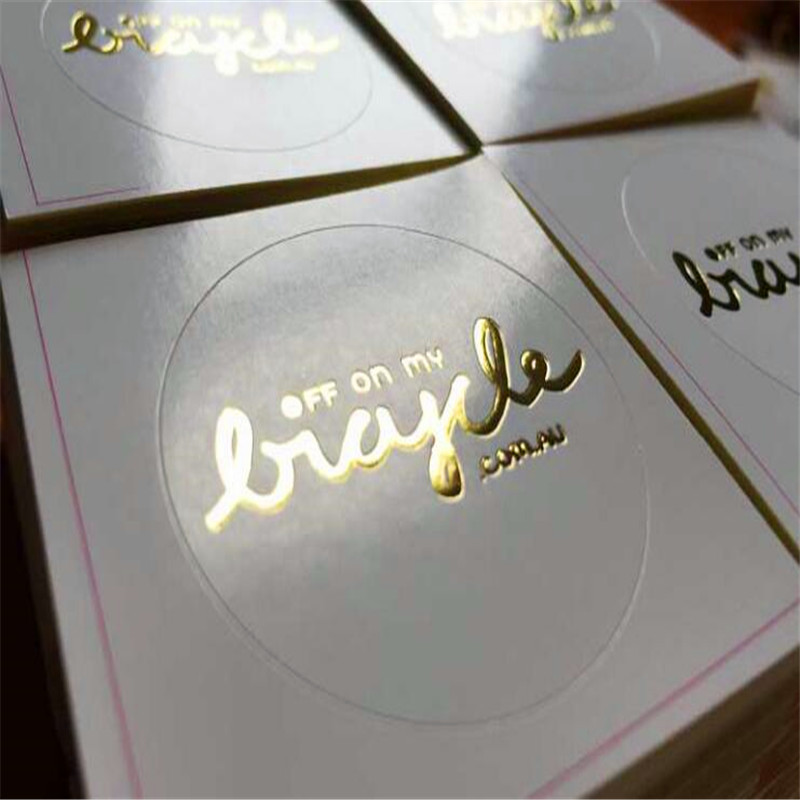 Customised transparent stickers waterproof gold foil sticker printing vinyl die cut sticker