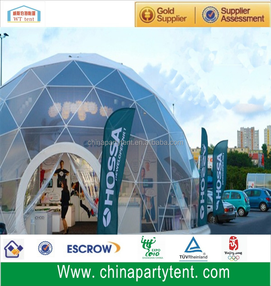 Big steel structure clear event dome tents with waterproof pvc fabrics
