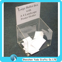 landscape shape collection box for money, small comment box, acrylic ballot box clear fund raising box with poster holder