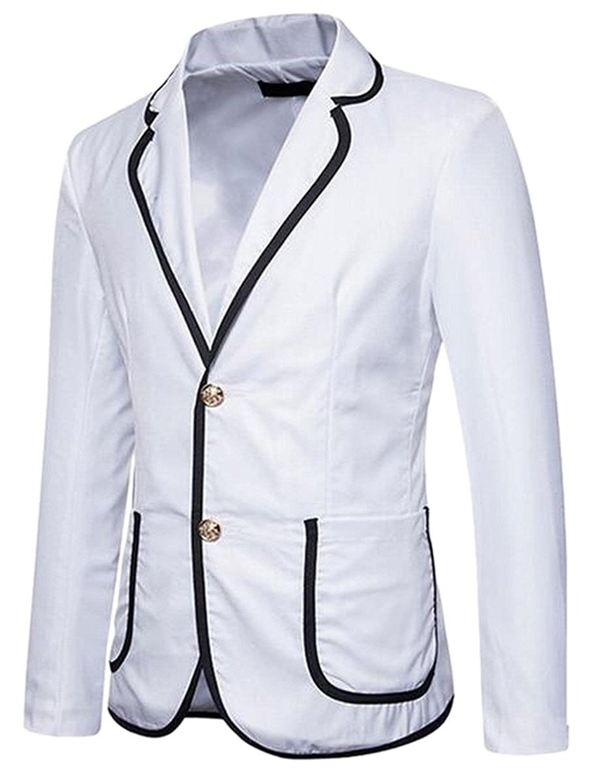 0c82fc4a26a320 Get Quotations · Jmwss QD Men s Casual Blazer Cotton Lightweight Notched  Lapel Two Button Blazer White XS