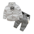 2016 winter hot sale fashion baby boy clothes gentleman tie long sleeved shirt Pants suit newborn