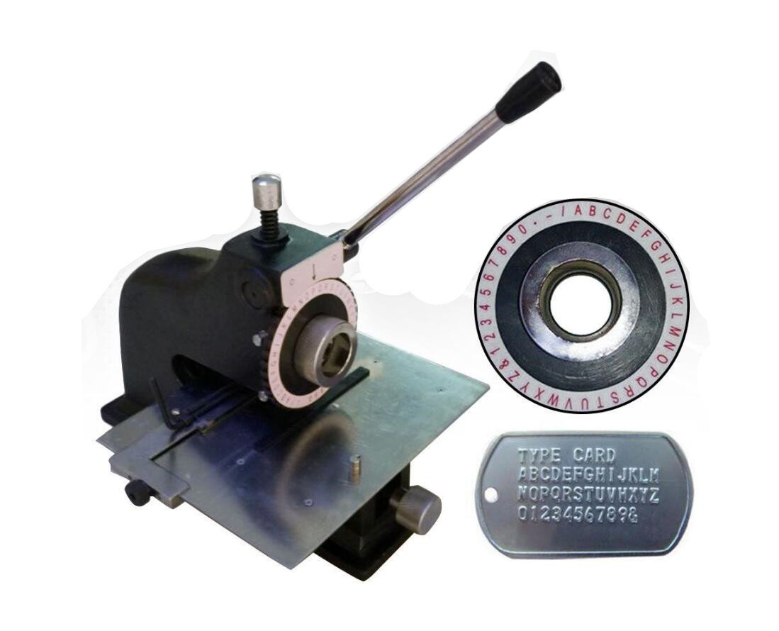 Manual Deboss Metal Embosser Label Dog Tag Stamping Embossing Marking Machine with 5.0mm Print Wheel