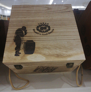 Fire burned treatment Paulownia wood 6 bottle wine box with hot stamped logo