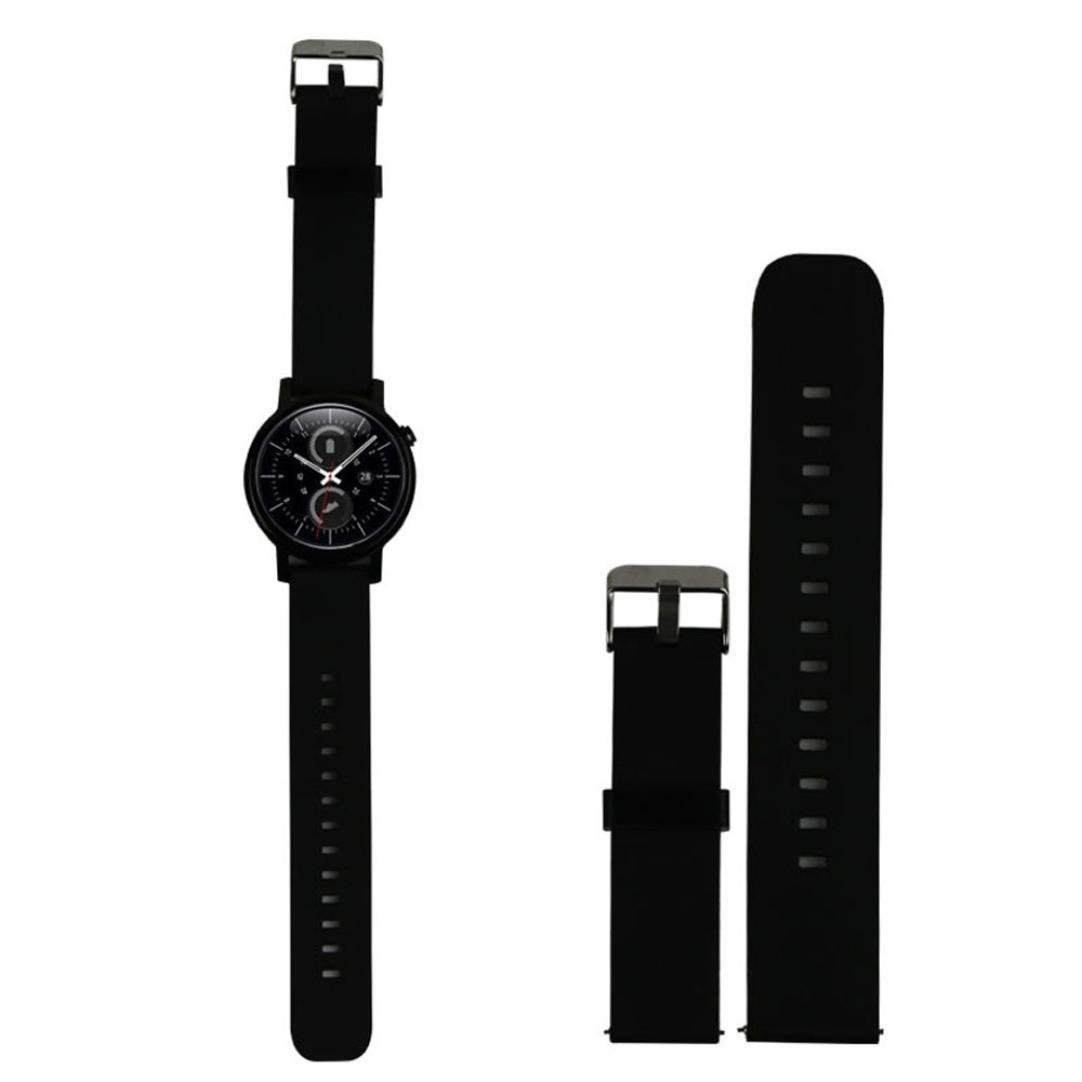 18MM 20MM 22MM Quick Release Watch Bands Pinhen Soft Silicone Rubber Choice of Colors & Widths 18mm 20mm or 22mm For Huawei Withings Activité Samsung Moto 360 Smart Watch Bands (22MM Black)