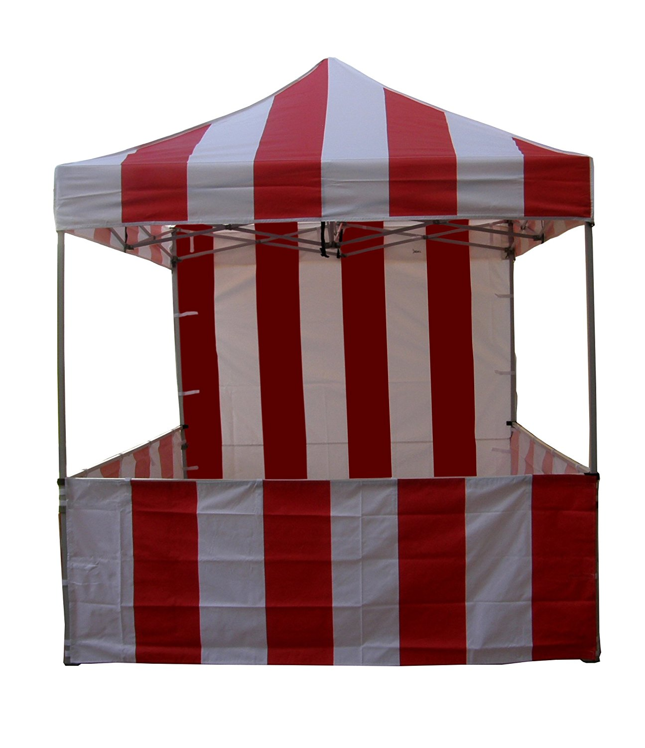 Impact Canopy 8x8 Pop Up Canopy Tent, Carnival Tent Kit, Powder Coated Steel Frame, Sidewall and Half walls, Red/White Stripe