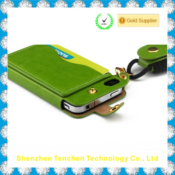 Factory wholesale price Top PU coloful case for Iphone5/5s with sling and card pocket ,with bracket