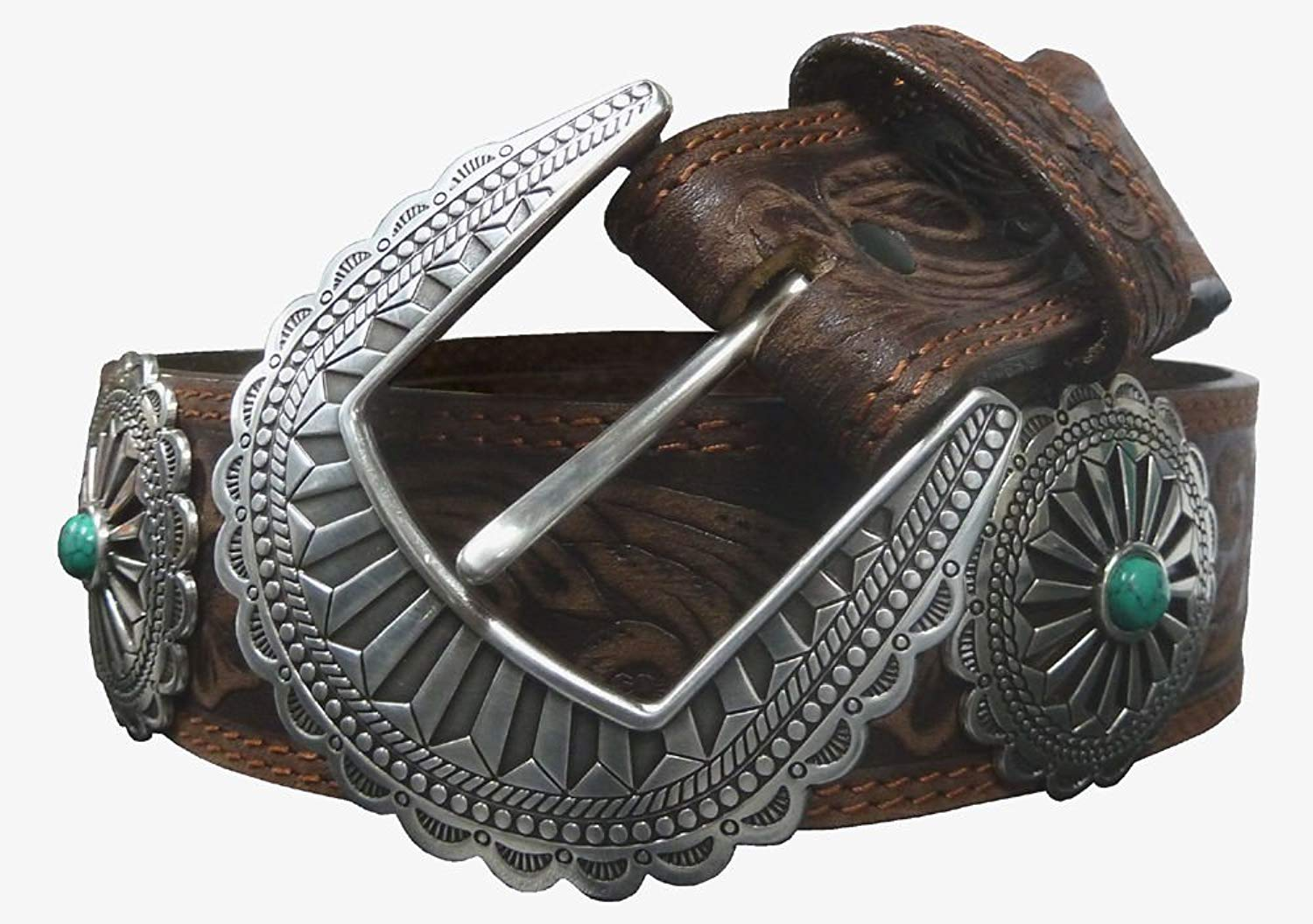Tony Lama Navajo Native Embossed Leather Belt with Large Conchos C51045
