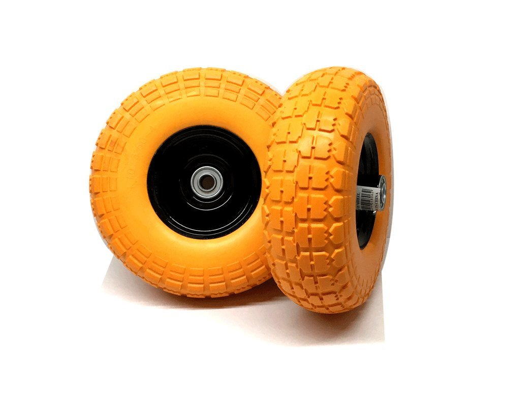 """Set of 2 - 10"""" Flat Free Tires Wheels with 5/8"""" Center - Solid Tire Wheel for Dolly Hand Truck Cart / All Purpose Utility Tire on Wheel"""