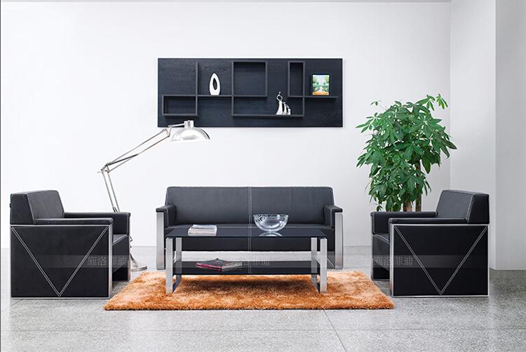 Moderne luxus büro  Moderne luxus büro sofa set edelstahl rahmen schwarz echtem leder ...
