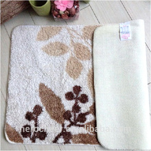 100% polyester printed leaves machine washable chenille shaggy bath mat rug