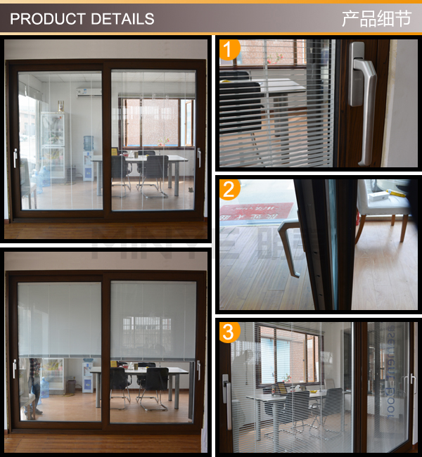 High Quality Aluminum Double Glazed Tempered Glass Sliding Glass Door With Inside Blinds