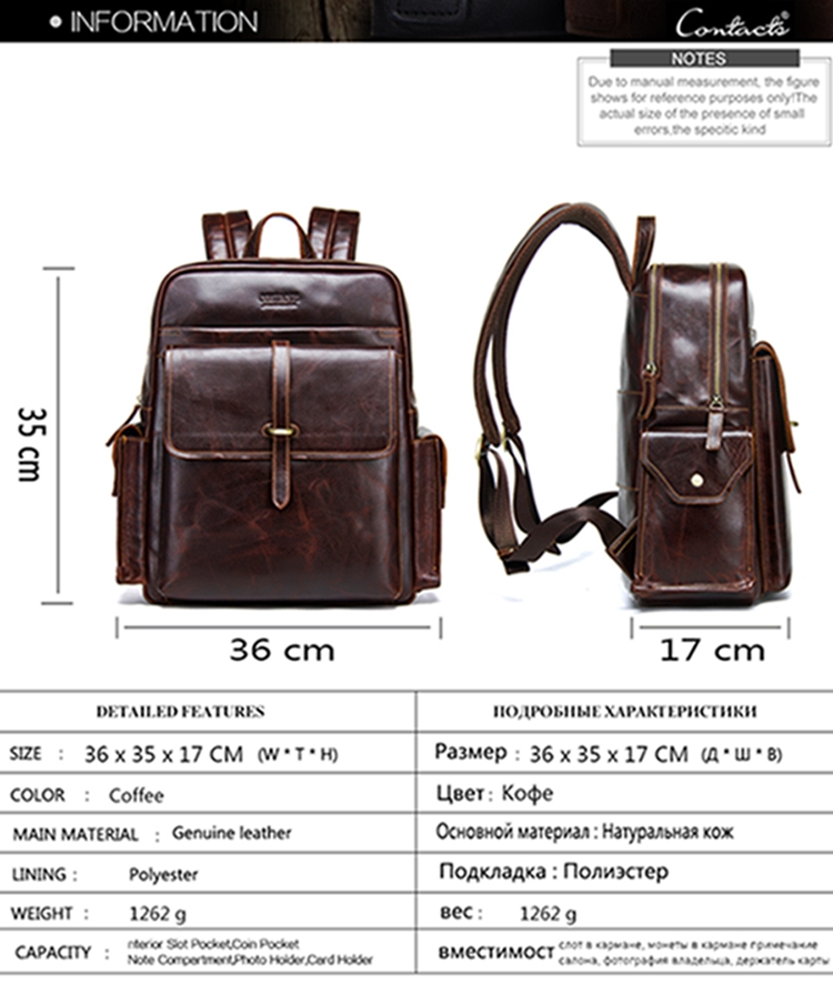 luxury men waterproof leather backpack