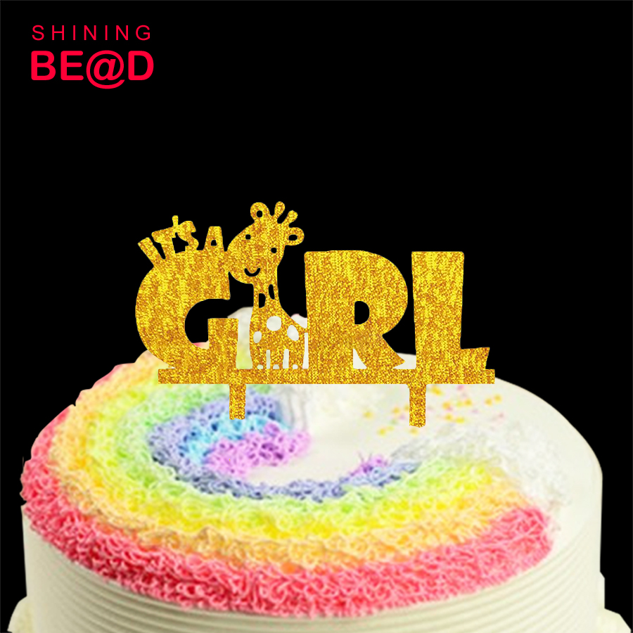 It\'s A Girl Acrylic Gold Cake Topper Princess Cake Topper Baby ...