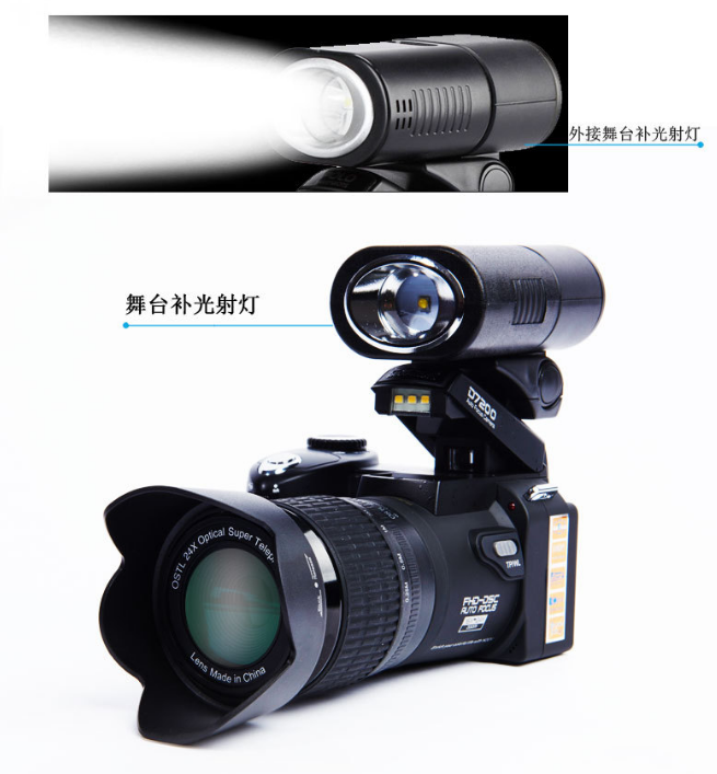 Autofocus full hd digital camera with 3 lenses can switch external flash DSLR