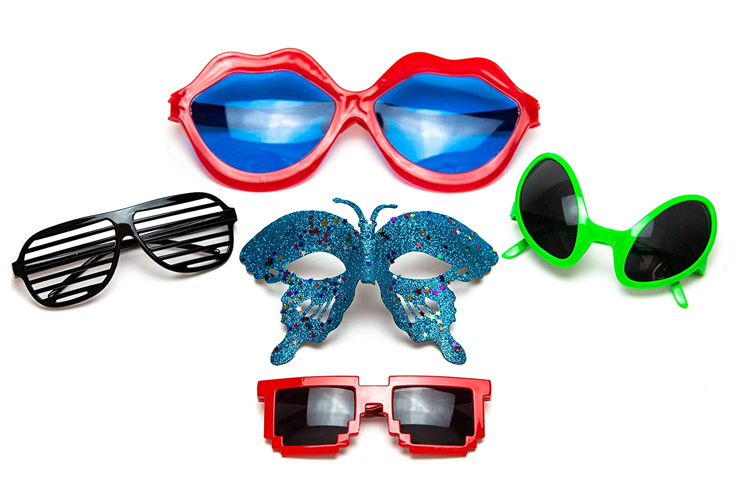 ecd2cf9f7e4 Get Quotations · Funny Sunglasses for Party or Photo Booth - Pack of 5 Cool  Unique Accessories for Kids
