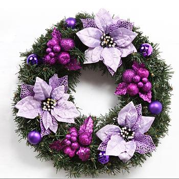 Purple Xmas Door Decorative Christmas Fl Wreath
