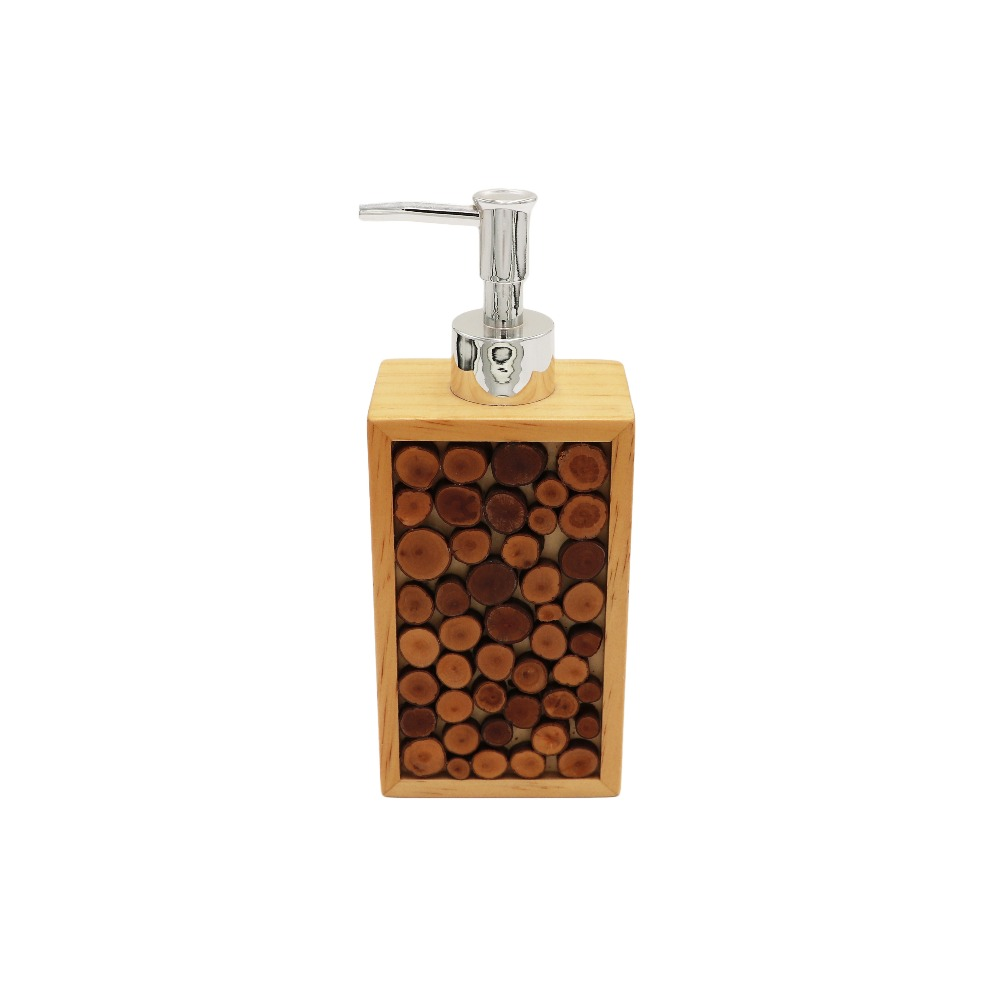 Tree Rings Wood Bathroom Accessories set Lotion Dispenser, Toothbrush Holder, Tumbler, Soap Dish, Tissue Cover.